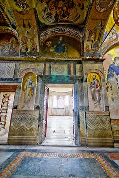 Entrance to Naos: Left: Apostle Saint Peter, Right: Apostle Saint Paul, Above the entrance: Dedicatory mosaic of Theodore Metochites Chora Museum,Istanbul by IzApps