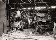 Trolleybuses destroyed at Bexleyheath trolleybus depot following an air raid on London in late 1940.