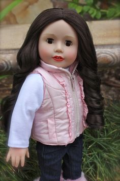 """Harmony Club 18 inch Doll, Melody Rose, in a new pink puffy vest outfit for 18"""" dolls and American Girl. Available at www.harmonyclubdolls.com"""