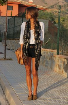summer nights - loafers, shorts, light scarf... NO skulls though. Flowers please :)