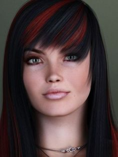 dark hair with red streaks | Black hair color with red streaks pictures 3