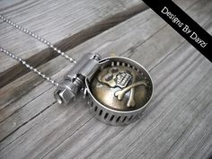 Steampunk Pirate Skull Industrial Necklace by designsbydayzi, $15.00