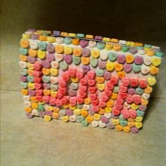 Valentines card holder using a cereal box & candy