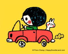Fun Ride, 8 x 10 Art Print by flora chang | HappyDoodleLand on Etsy