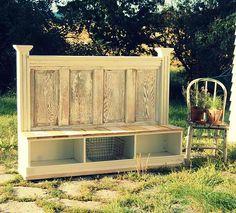old door bench/storage - breakfast nook inspiration