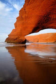 Natural Arch, Legzira Beach, Morocco  ♥ ♥ www.paintingyouwithwords.com beaches, natural arch, beautiful nature travel, legzira beach, beach rock arch, arches, place, morocco, natur arch