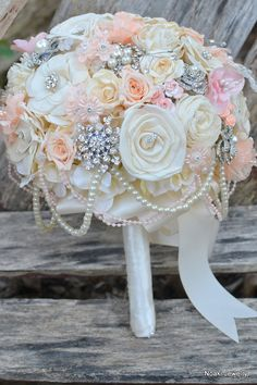 Peaches and pearls wood and rose brooch bouquet by Noaki on Etsy