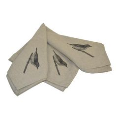 Bird on Branch Napkins in Linen.