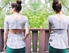 C: Men's tee to open-back buttoned up tee tutorial