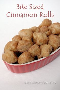 Bite Sized Cinnamon Rolls from fivelittlechefs.com. A 30 minute recipe your Little Chefs can make with minimal supervision! #cinnamon #roll #recipe