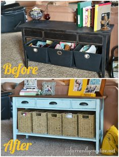 Painted sofa table: before and after