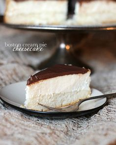 Boston Cream Pie Cheesecake.. a layer of cake, topped with cheescake and then a chocolate ganache. SO yummy!