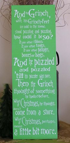 GRINCH sign #Christmas story #Seuss