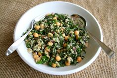 Lemony Garbanzo Kale Salad with Tuna