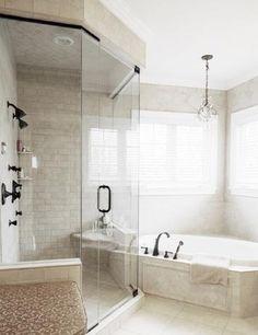 corner tub and shower, screen shop, bathroom makeovers, dream bathrooms, shower doors, master bathrooms, remodel bathroom, master bath corner tub, glass shower