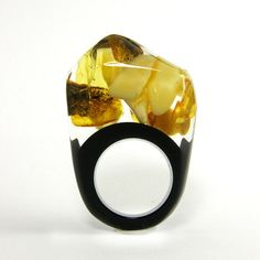 Amber and Black Resin Ring