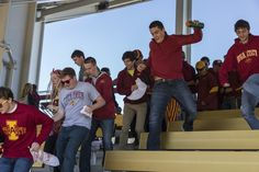 Take a look at this! ISU students sprint down the bleachers to get the best spot, want to join in? gate 2 opens 90 minutes prior to kickoff for students #dedication #LoyalForeverTrue