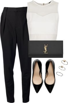 Untitled #380 by ritavalente featuring black handbagsTopshop crop top / Helmut Lang highwaisted pants / Zara high heel shoes / Yves Saint Laurent black handbag, $760 / Topshop band ring, $8.99