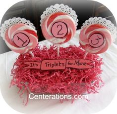 Pink centerpieces -  For Triplet Baby Girl Shower