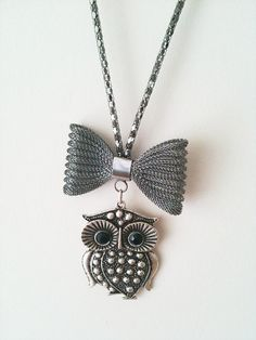 Owl Necklace with bow by ArtofAccessory on Etsy, $23.99