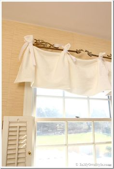 window dressings, white valance curtains, sew tieon, romantic window treatments, shutters, diy, decor idea, no sew valance curtains, window valances