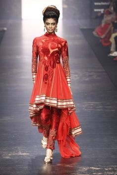 Self Red Design, It's striking #indian #fashion salwar. Love the flow of this.