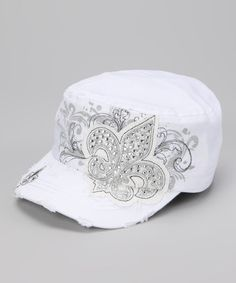 Take a look at this White Fleur-de-Lis Junior Cadet Cap by Rhinestone Junkie on #zulily today!