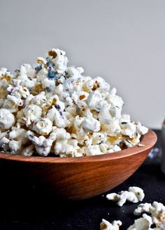 white chocolate with lavender popcorn