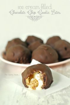 Ice Cream Filled Chocolate Chip Cookie Bites