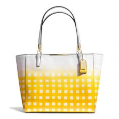 I ABSOLUTELY LOVE LOVE LOVE the yellow!! The Madison East/west Tote In Gingham Saffiano Leather from Coach