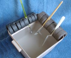 Brush Holder -- This is an inexpensive means of keeping any number of brushes wet between sessions and while painting  with water based paints. It can also be used for hanging brushes to dry tip downward.