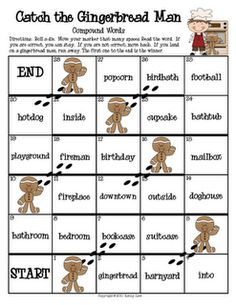 compound word game with gingerbread theme