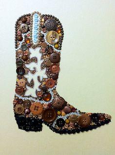 Cowboy Boot Button & Swarovski Art by Belle Papier