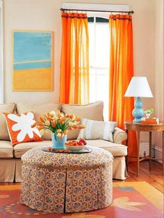 rooms with turquoise and orange | Living room decorating in orange and turquoise colors, interior paint ...