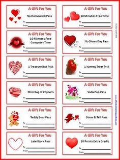 FREE! Valentine's Day Reward Coupons