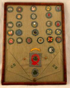 Vintage American 1930s Framed Girl Scout dress with 26 Merit Badges & Curved Bar   eBay