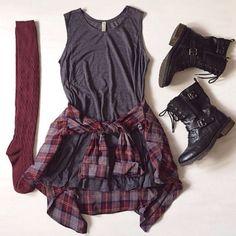 grey tee dress, plaid button down, black boots, burgundy thigh highs
