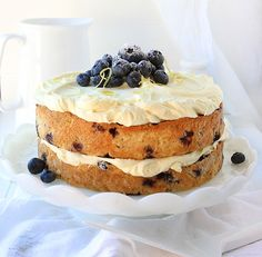 Blueberry Zucchini Cake with Lemon Buttercream via @iambaker