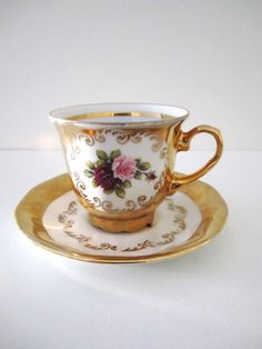Vintage Teacup 24 Karat Gold Trimmed Rose Motif Teacup Royal Serving Bavaria Germany