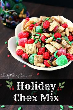 Get Ready For The Holidays With The Yummy Mix! Gluten - Free - made in under 5 minutes - Holiday Chex Mix Recipe