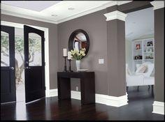Dark wood. Gray walls. White trim LOVE
