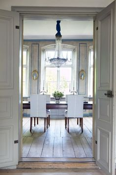 rustic chic dining room. (white slipcovers for our formal dining room chairs)