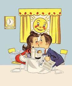 kiss, happy anniversary, wedding anniversary, vintage weddings, vintage illustrations, morning coffee, vintage romance, anniversary cards, vintage cards