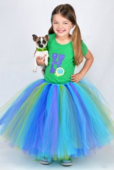 Youth Size 5 to 8  Long Tutu Skirt  Aqua Tutu  by PinkPosieCouture, $45.00