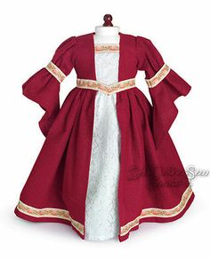 "Burgundy RENAISSANCE DRESS COSTUME made for 18"" American Girl Doll Clothes"