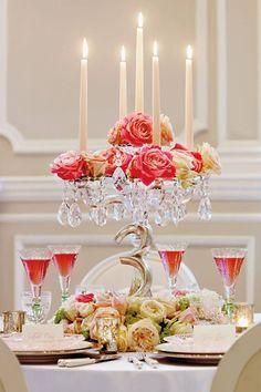 Beautiful Wedding Reception Centerpiece - candles