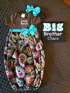 Personalized Infant Girls Coming Home Gown Set with Big Brother/Sister Shirt.    Neeed this!!!