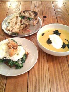 Broccoli rabe, chicken salad and butternut squash soup with crispy ...