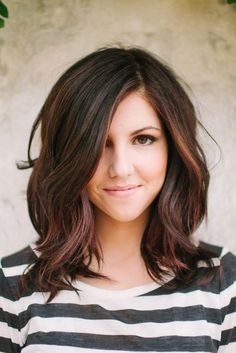 dark brown hair with light brown peekaboos - Love the style, length, and color!