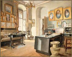 Matthaus Kern's 1837 depiction of a wonderfully austere Biedermeier study